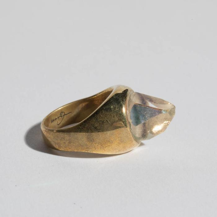 Legier- Round Rainbow Quartz Crystal on Brass Ring size 7