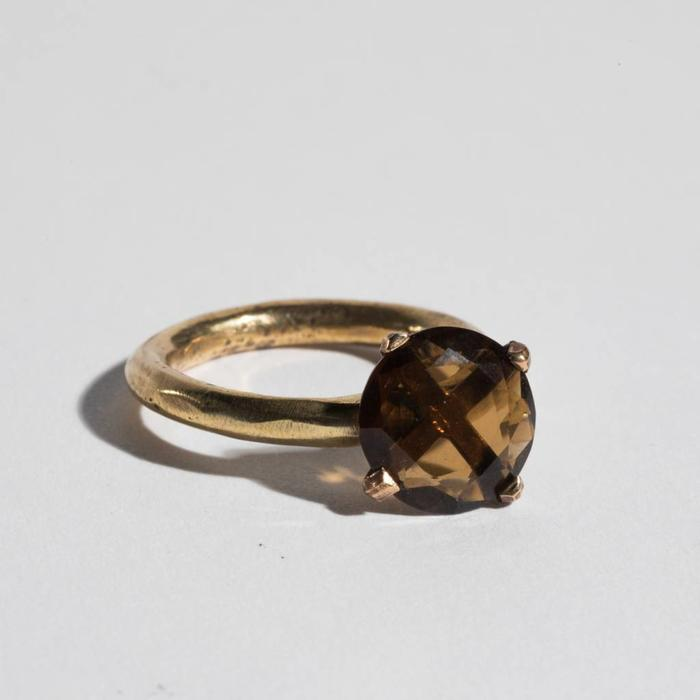 Unearthen Brass and Smokey Quartz Ring