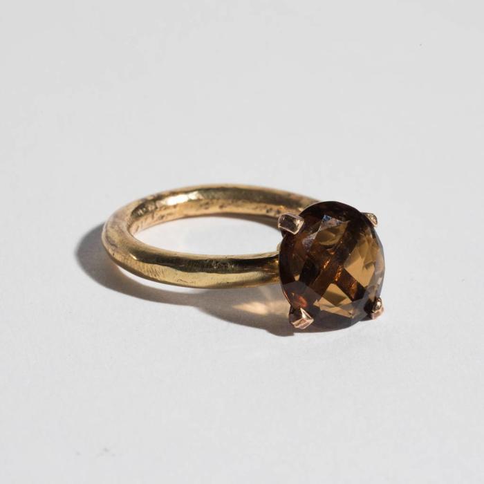 Unearthen Brass and Smokey Quartz Ring
