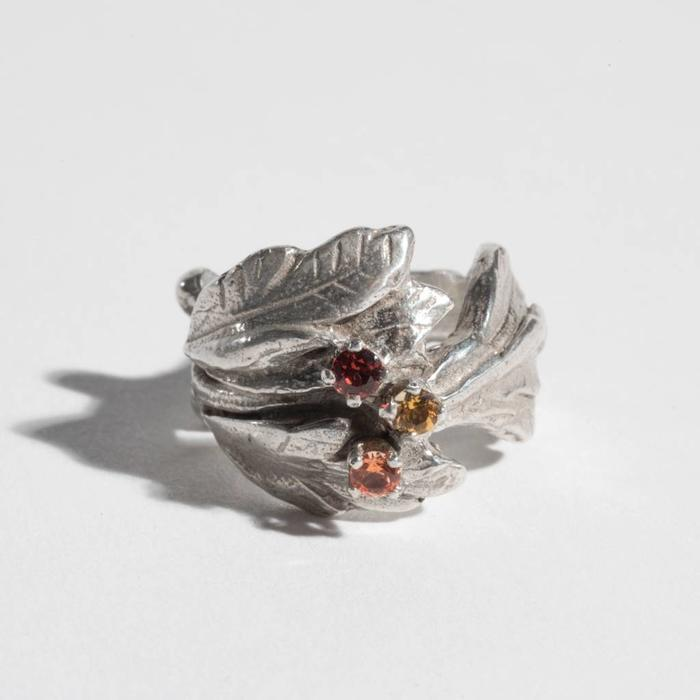 Saint Claude Floral Ring - Silver with Stones