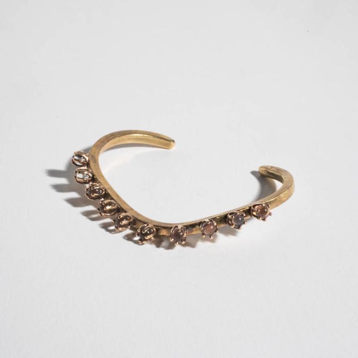 Unearthen Brass Cuff w/ Crystal Spheres