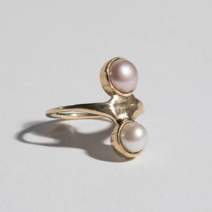 Aesa Ring with two pearls on 10k gold