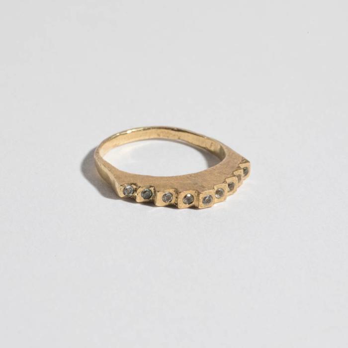 Unearthen Stair Ring Brass w/ White Sapphire