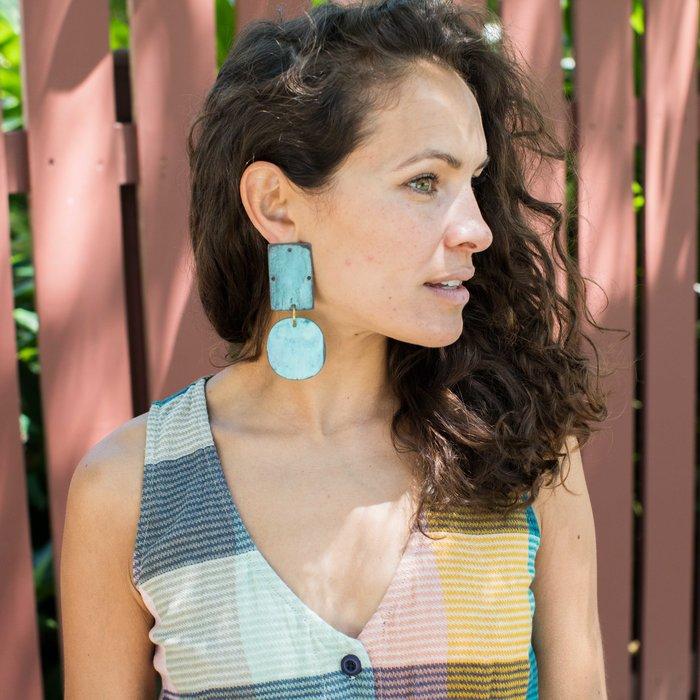 Annie Costello Brown Overt Earrings - Cyan