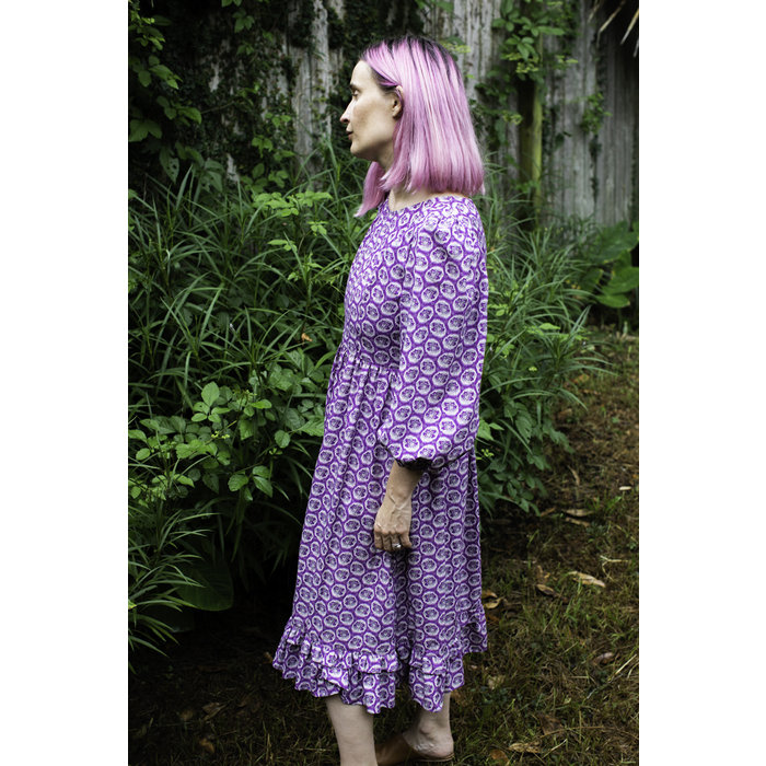 Batsheva- Peasant Dress Purple Leaf