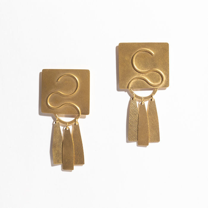 Annie Costello Brown Clea Earrings - Gold