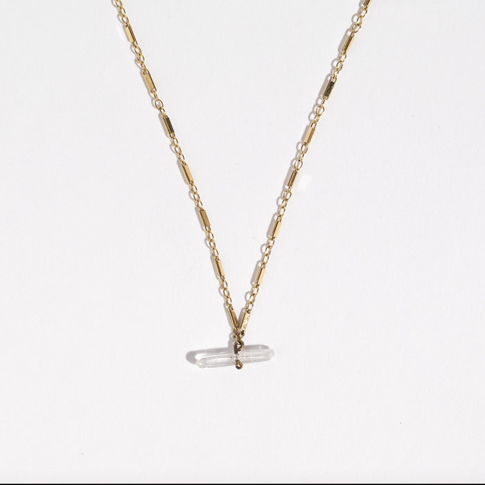 Unearthen Quartz Necklace with Gold Chain