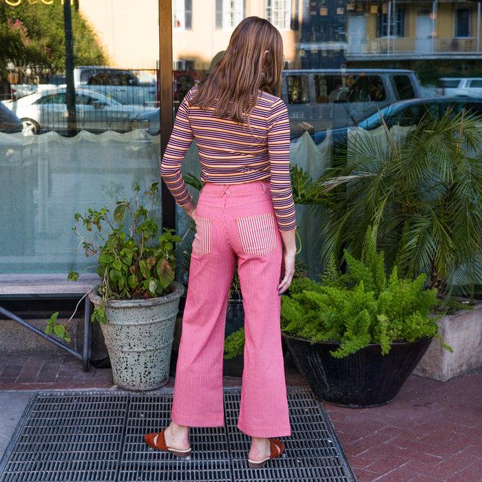 Rachel Antonoff Romeo Wide Leg Pant - Red Stripe