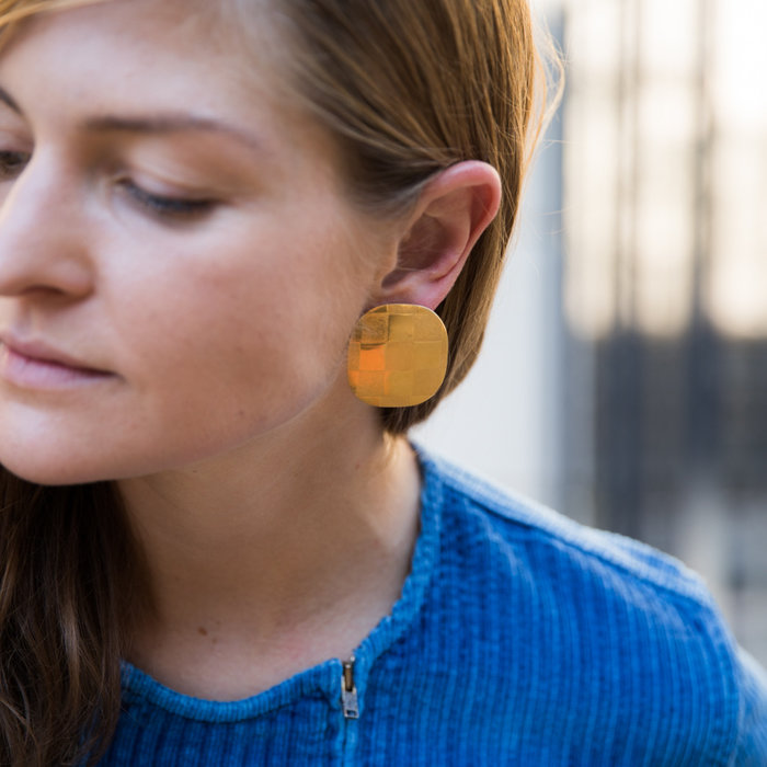 Annie Costello Brown Echo Disc Earrings