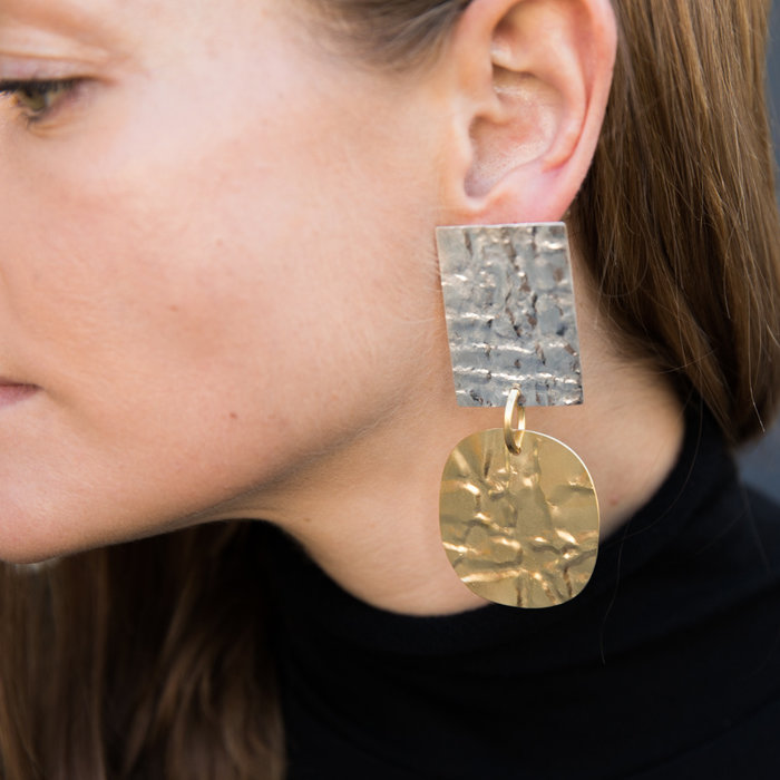 Annie Costello Brown Foil Overt Earrings - SS & Brass