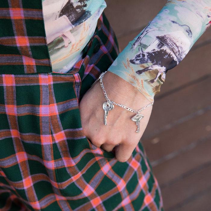 Open House Key Chain Bracelet - Silver