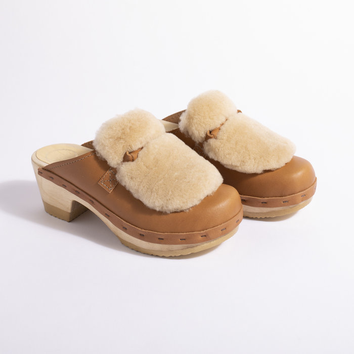 No. 6 Bianca Fur Slide on Mid Heel