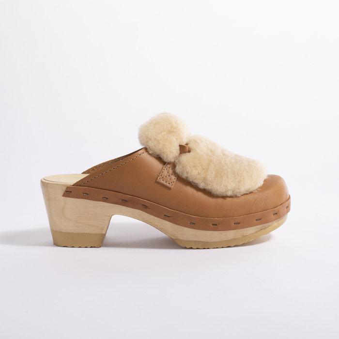 No. 6 Bianca Fur Slide on Mid Heel