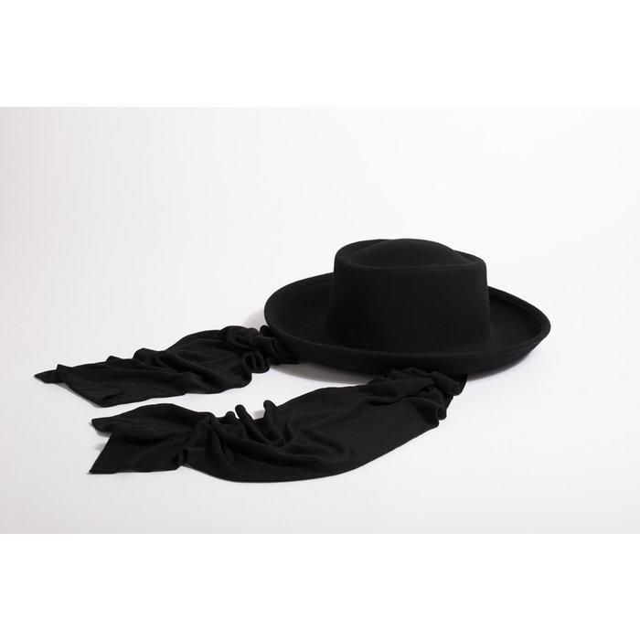 Clyde Gambler Hat w/ Neck Scarf - Black