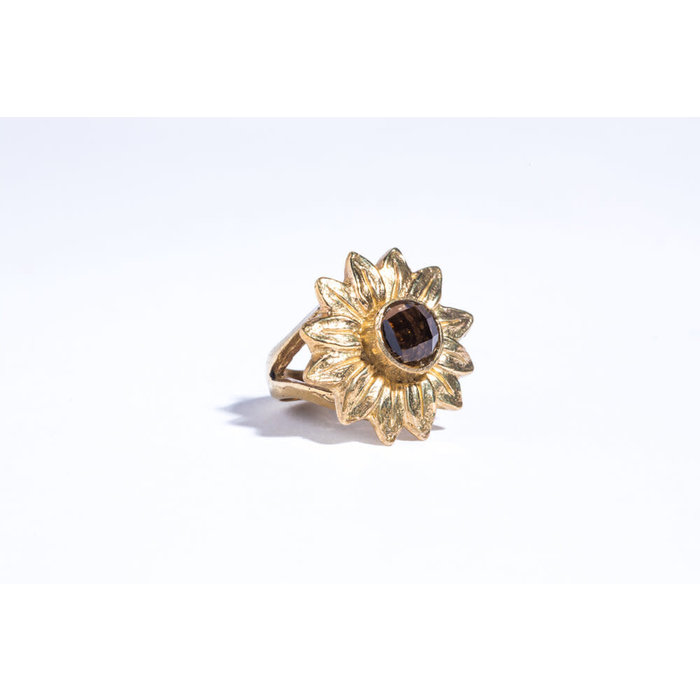 Saint Claude x Freda Sunflower Ring - Brass with Smokey Topaz