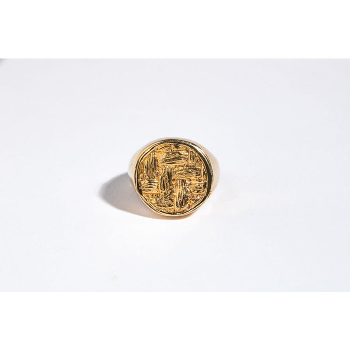 Saint Claude x Freda Basketweave Signet Ring - Brass