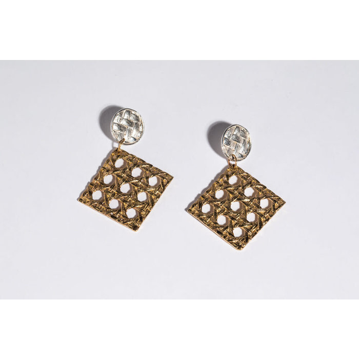 SC x Freda Caning Dangle Earring - Sterling/Brass
