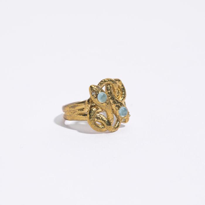 Legier Snake Ring with Aquamarine