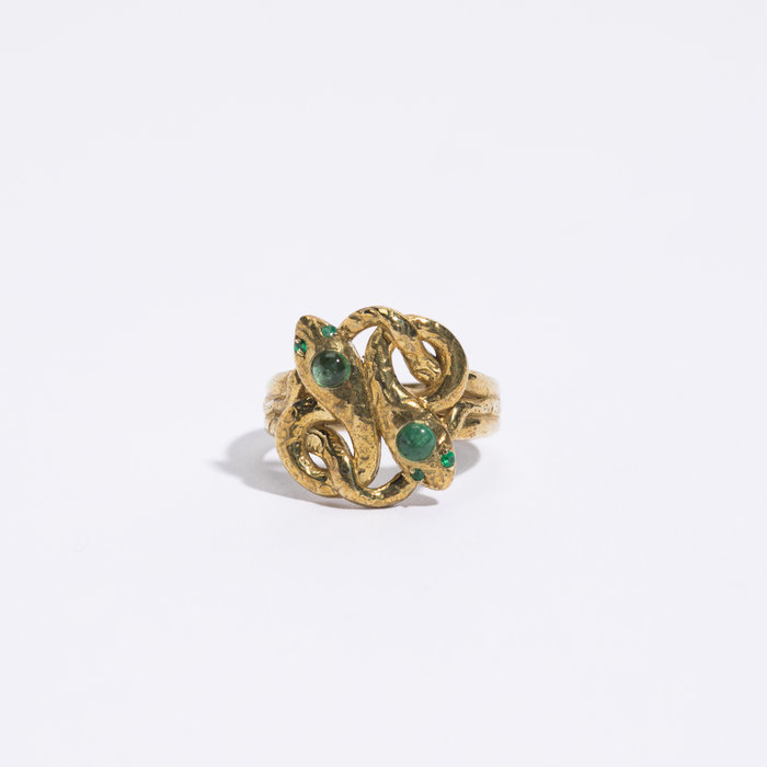 Legier Snake Ring with Emerald