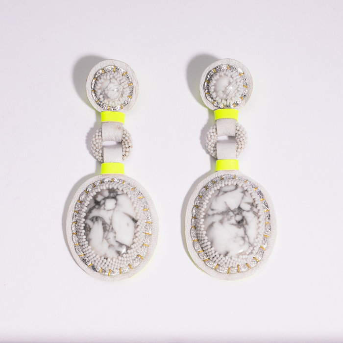 Robin Mollicone Double Stone Earrings