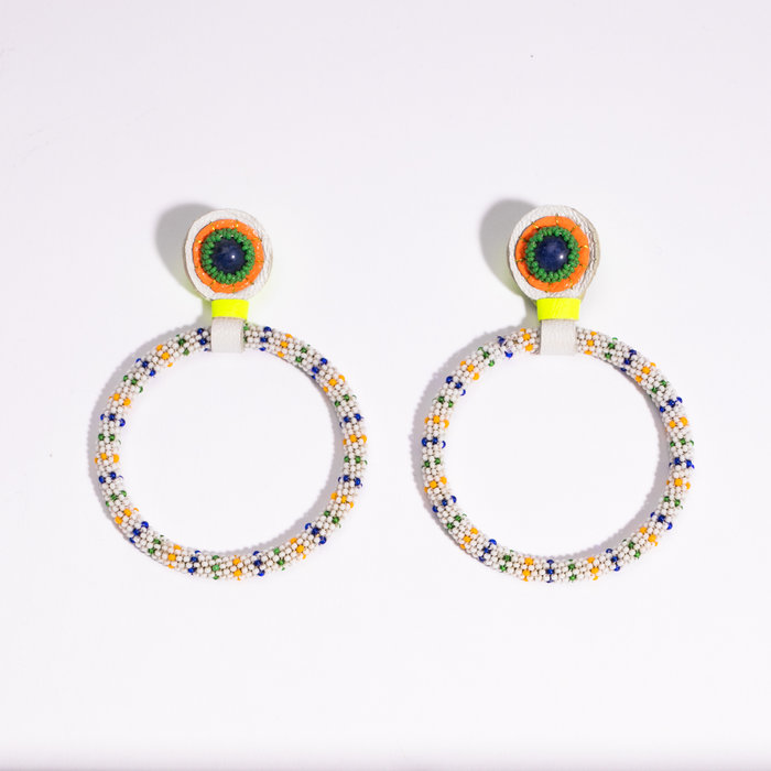 Robin Mollicone Large Beaded Hoop Earrings