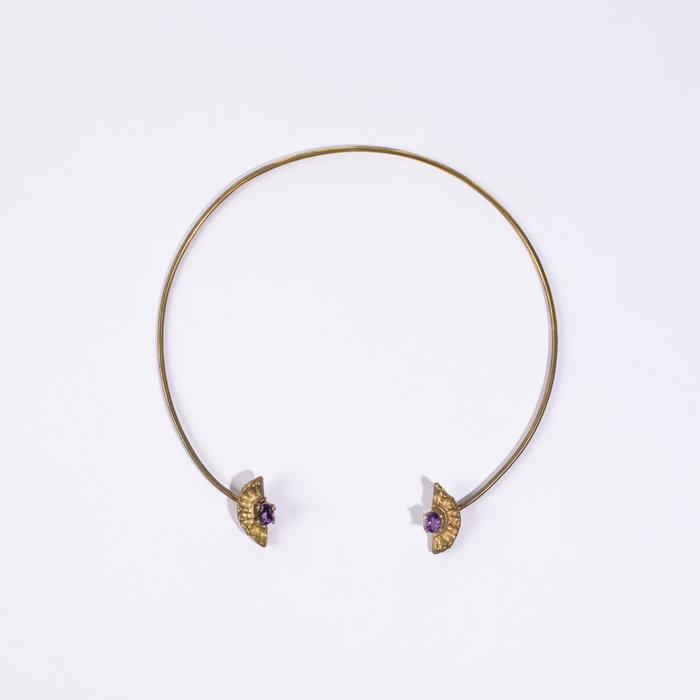 Saint Claude Demi Lune Open Collar with Amethyst