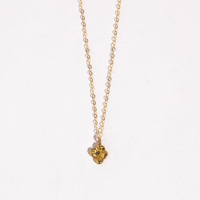 Saint Claude x Freda Petit Primrose Necklace - Brass w/Sapphire