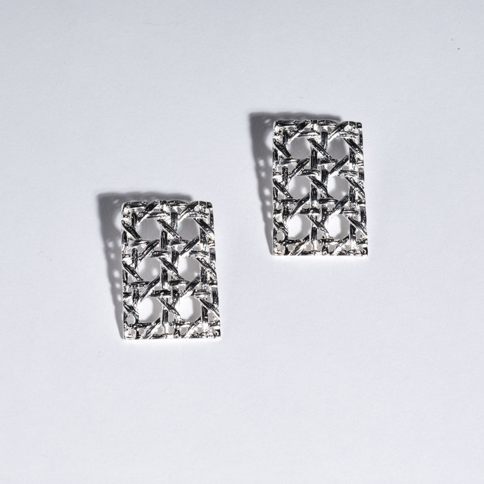 Saint Claude x Freda Rectangle Caning Earring - Sterling