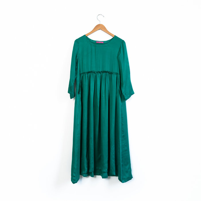 Hell Bitch Silk Pullover Dress - Emerald Green