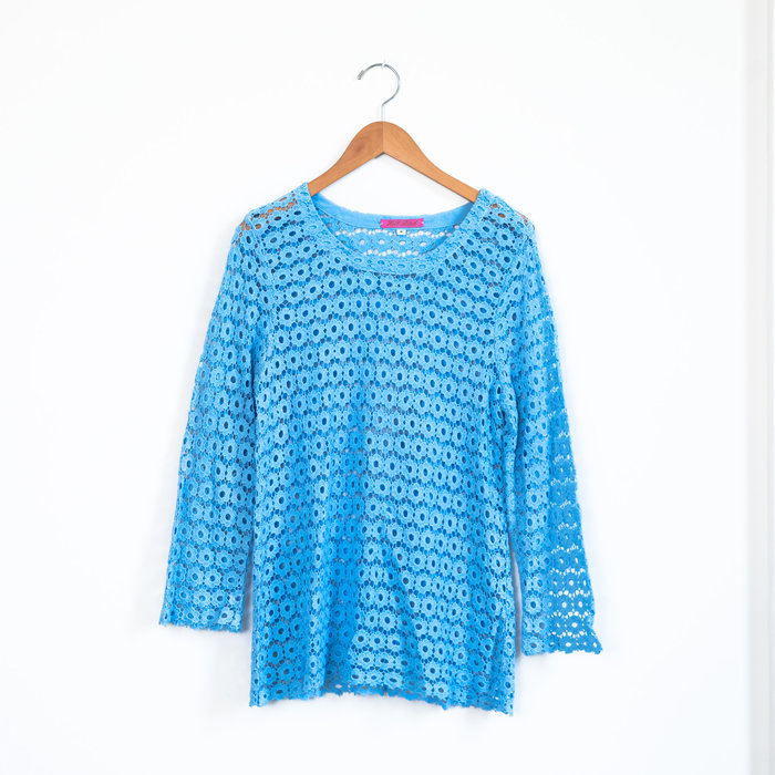 Hell Bitch Pure Cotton Blue Lace Top