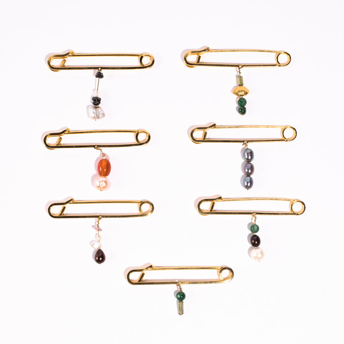 Aesa Gold Plate Pins & Gems