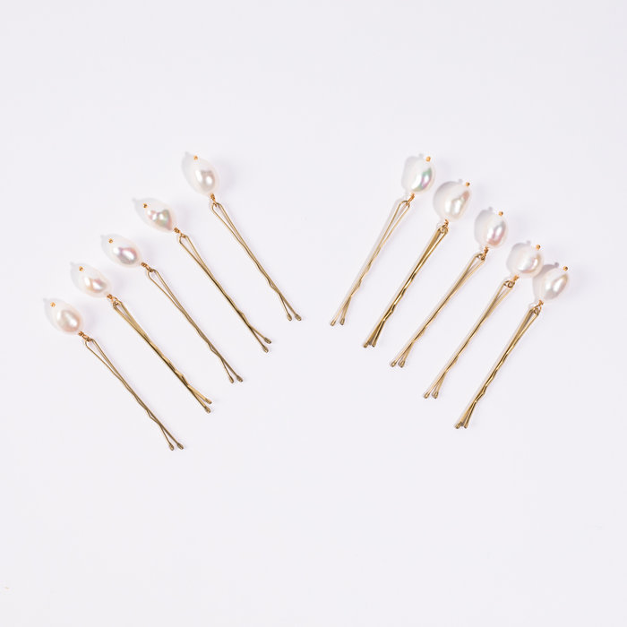 Plutonia Blue Pearl Pins - White Pearls