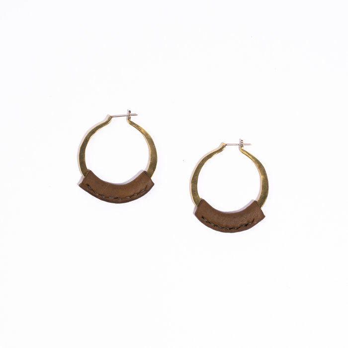 Crescioni Leather Kiva Earrings - Olive