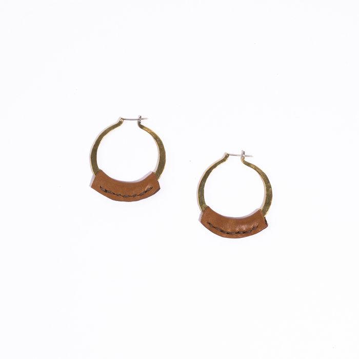 Crescioni Leather Kiva Earrings - Saddle Brown