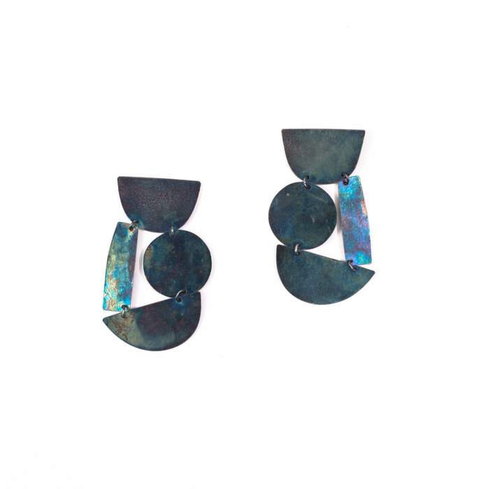 Annie Costello Brown Masha Earrings - Iridescent Blue