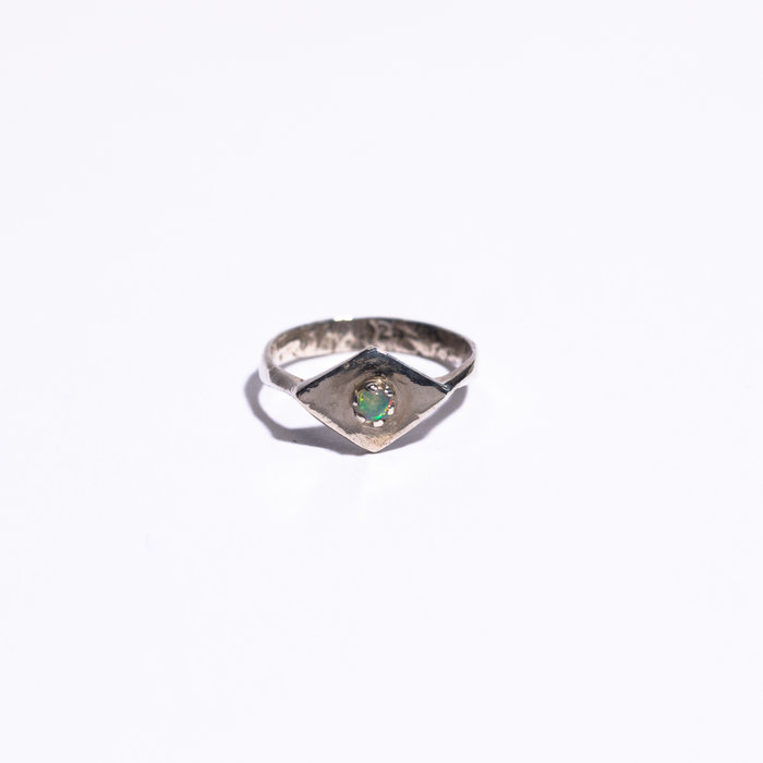 Unearthen Silver Ring with Opal