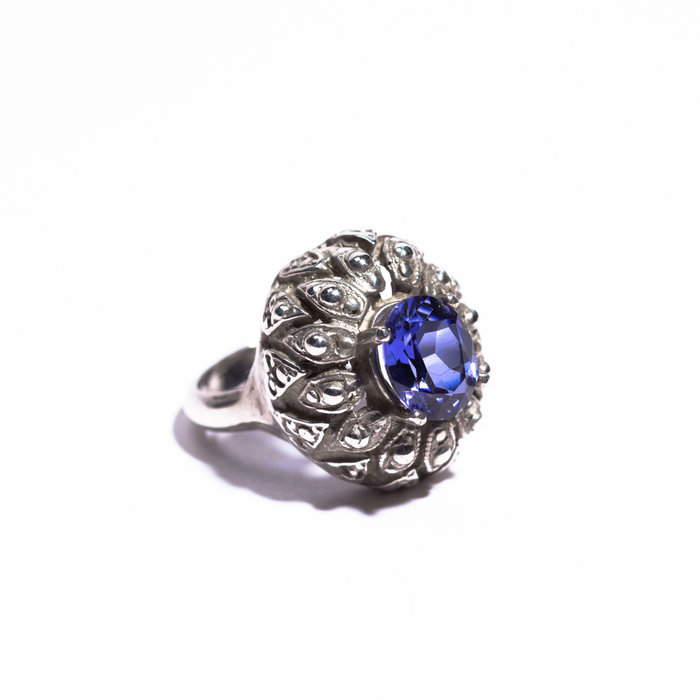 Saint Claude Large Silver Ring with Light Blue Tanzanite Stone