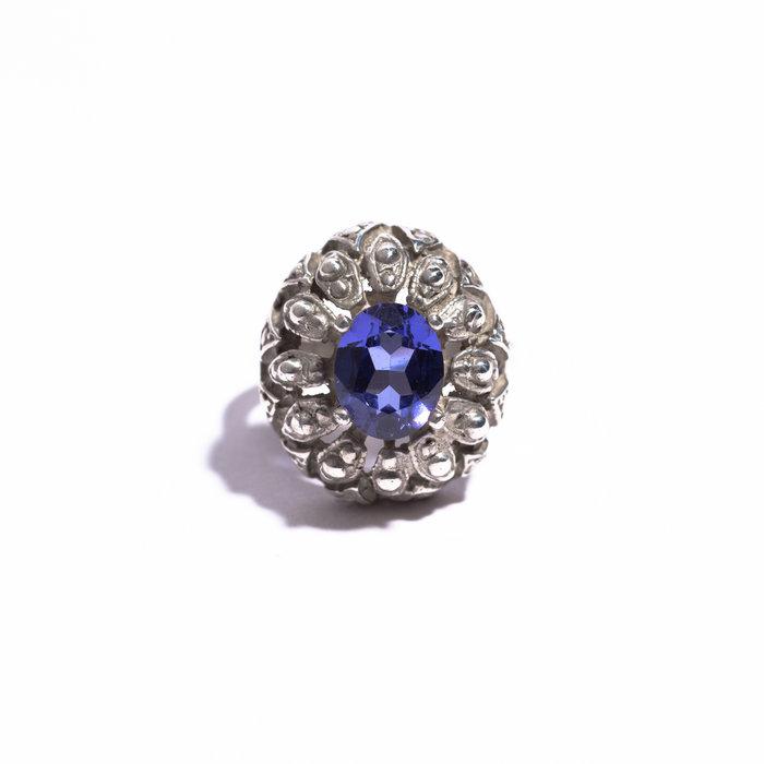 Saint Claude Antique Ring with Light Blue Tanzanite Stone