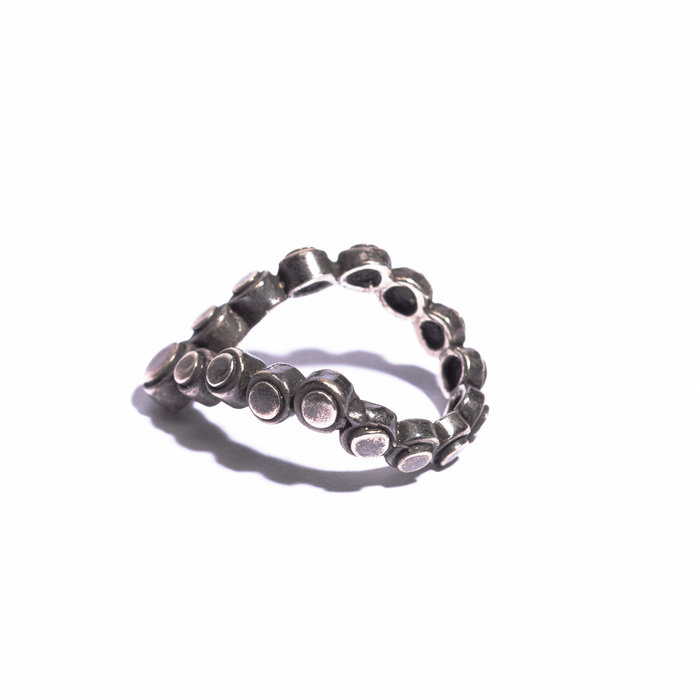 Aesa Double Circle Motif Triangle Ring  - Sterling