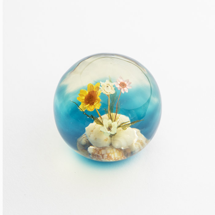 Vintage Lucite Floral & Shell Paperweight