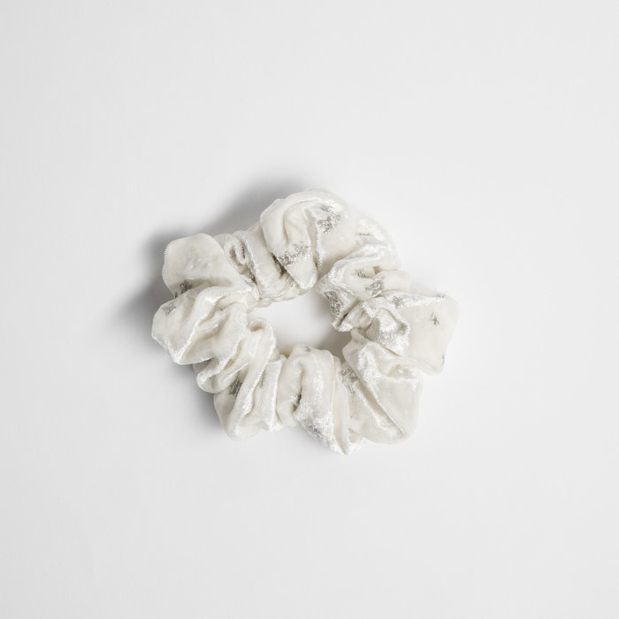 Samantha Pleet Scrunchy - White Velvet