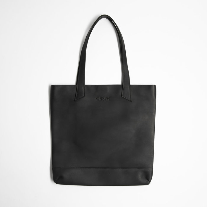 Orsyn Magazine Tote - Black Oil Tan