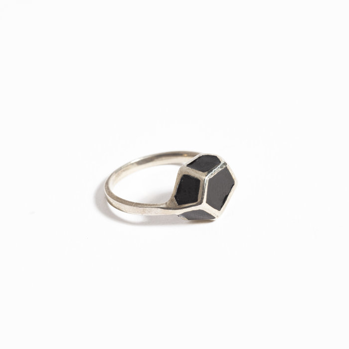 Aesa Sterling Silver Ring with Enamel Pyrite