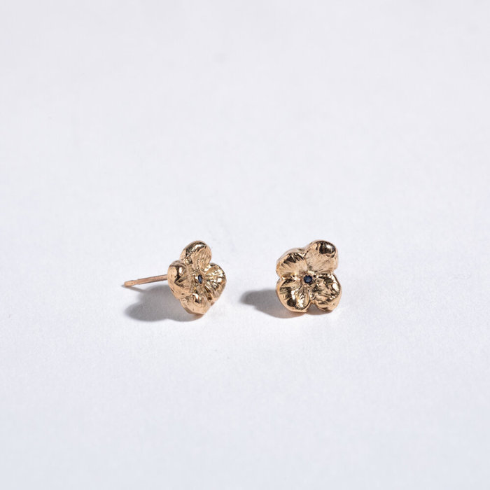 Saint Claude x Freda Petit Primrose Earrings - Brass w/Sapphire