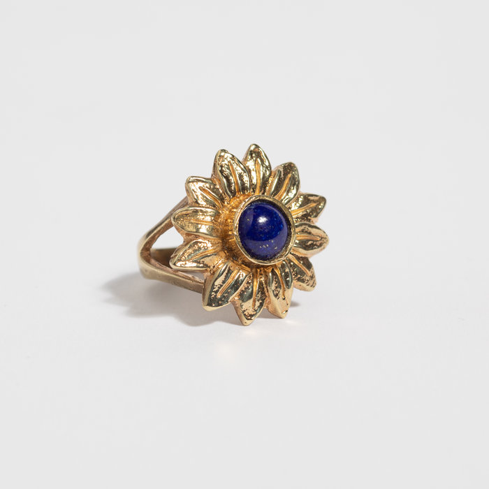 Saint Claude x Freda Sunflower Ring - Brass w/Lapis