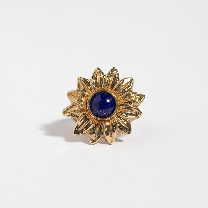 Saint Claude x Freda Sunflower Ring - Brass w/Lapis