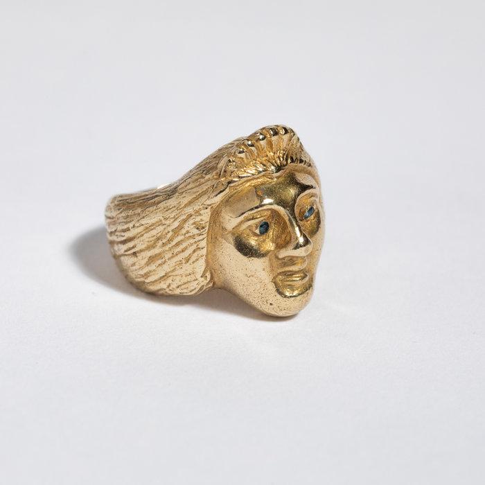 Saint Claude x Freda Ladyface Ring - Brass w/ Sapphire