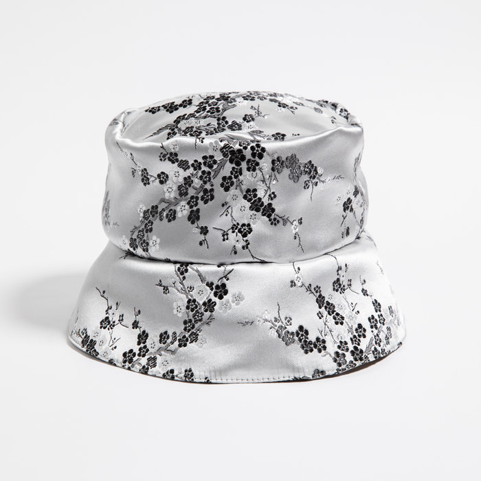 Rightful Owner Silver Satin Bucket Hat