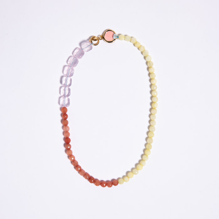 A. Carnevale Beaded Necklace - Pink/Yellow