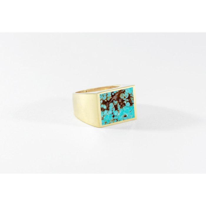Legier Brass Stone Signet Ring Turquoise